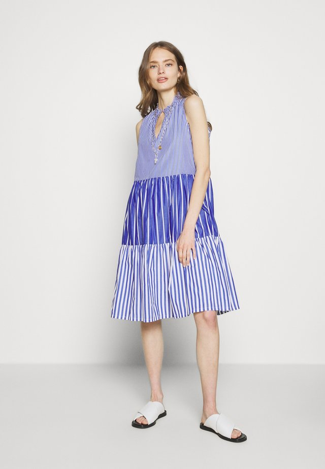 MIXY STRIPE TIERED MIDI - Korte jurk - blue multi