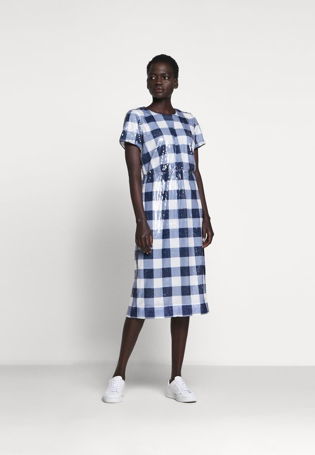 THERESA DRESS GINGHAM SEQUIN - Cocktail dress / Party dress - navy/ivory