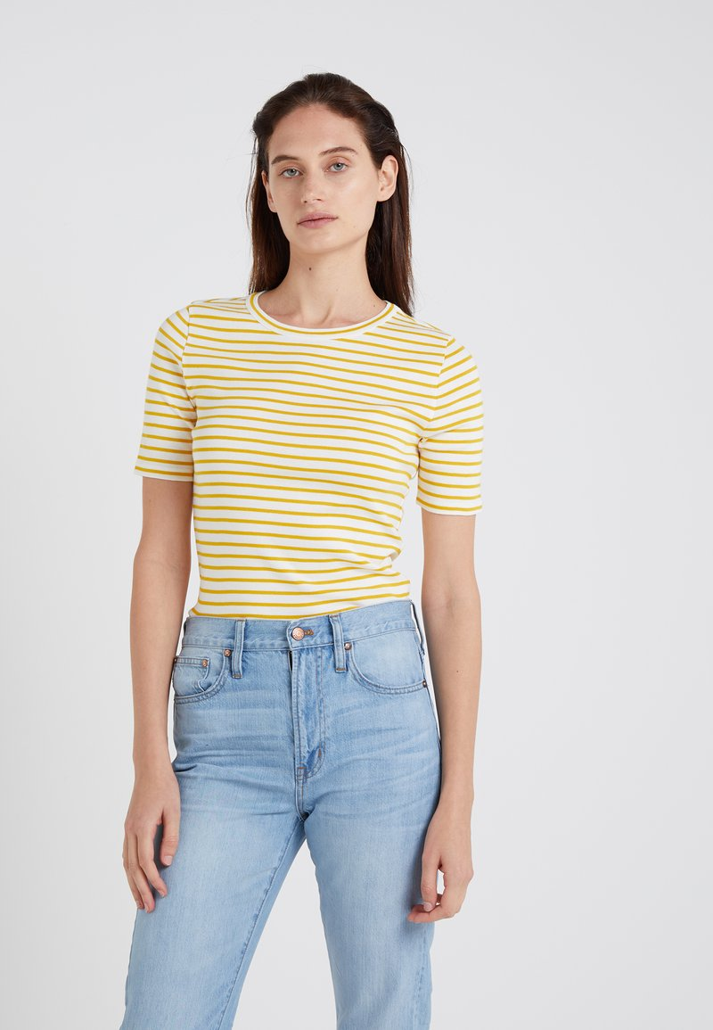 J.CREW - PERFECT FIT TEE STRIPE - T-Shirt print - rich gold/ivory