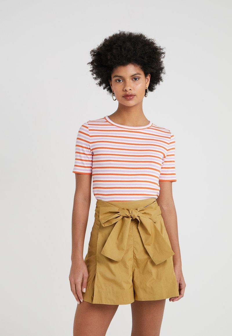 J.CREW - PERFECT FIT TEE STRIPE - T-Shirt print - peony ivory/orange