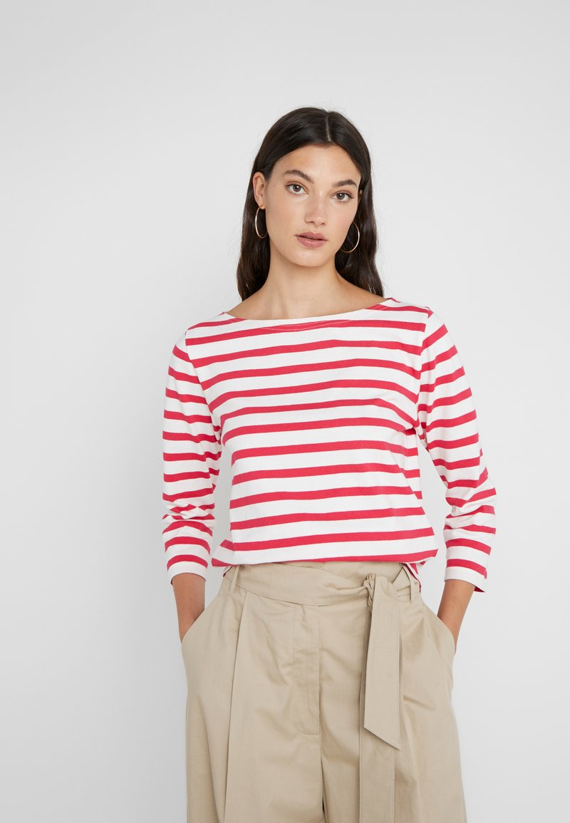 J.CREW - STRUCTURED BOAT NECK TEE - Strickpullover - icon ivory/bright rose