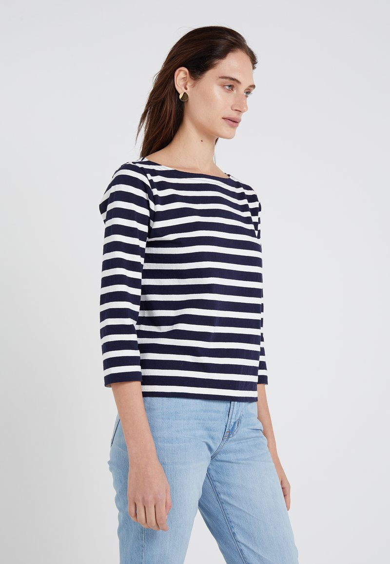 J.CREW - STRUCTURED BOAT NECK TEE - Sweter - navy/ivory