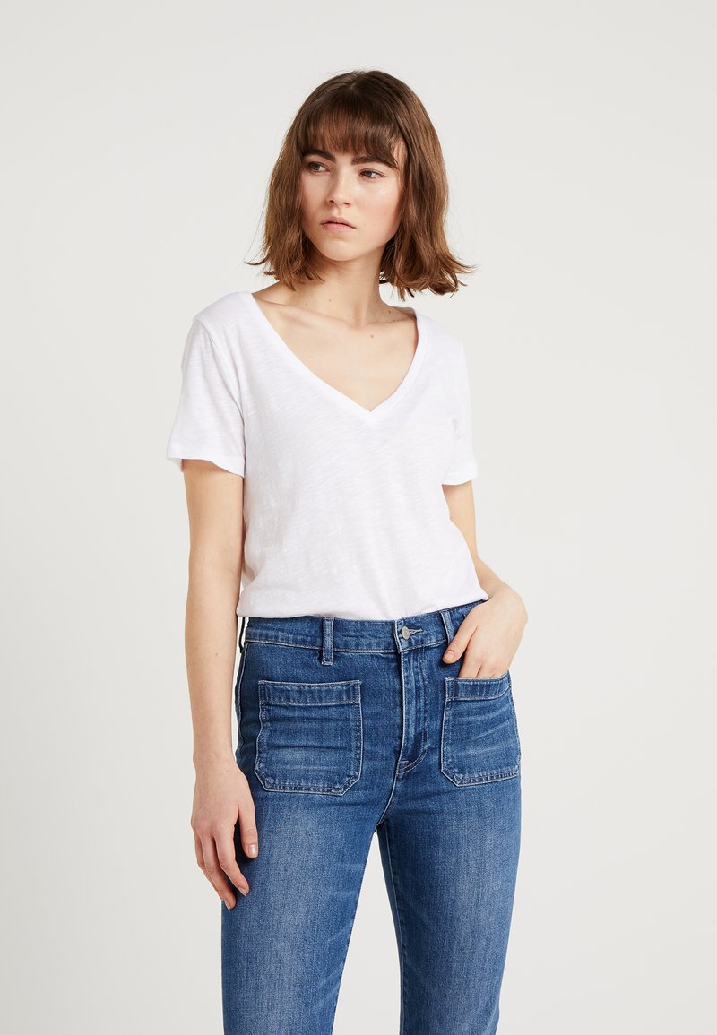 J.CREW - WHISPER V-NECK TEE - T-Shirt basic - white