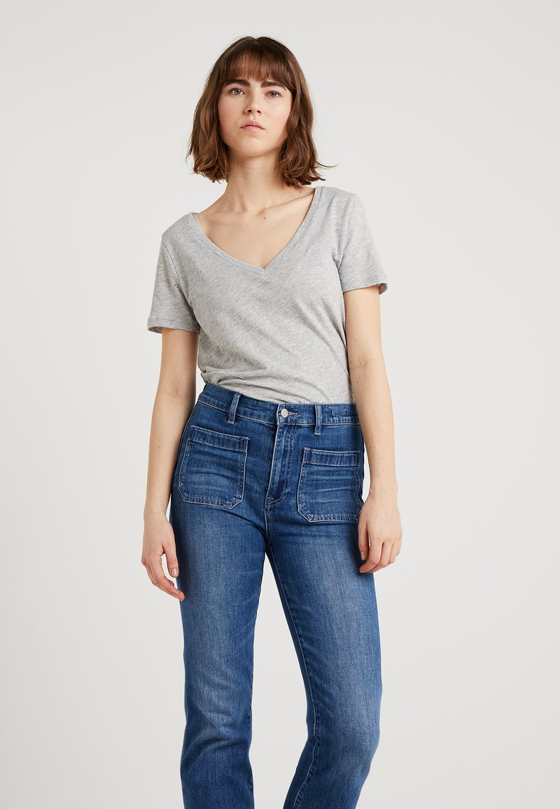 J.CREW - WHISPER V-NECK TEE - T-paita - mottled grey