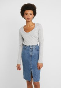 J.CREW - WHISPER SCOOP NECK - Long sleeved top - grey - 0