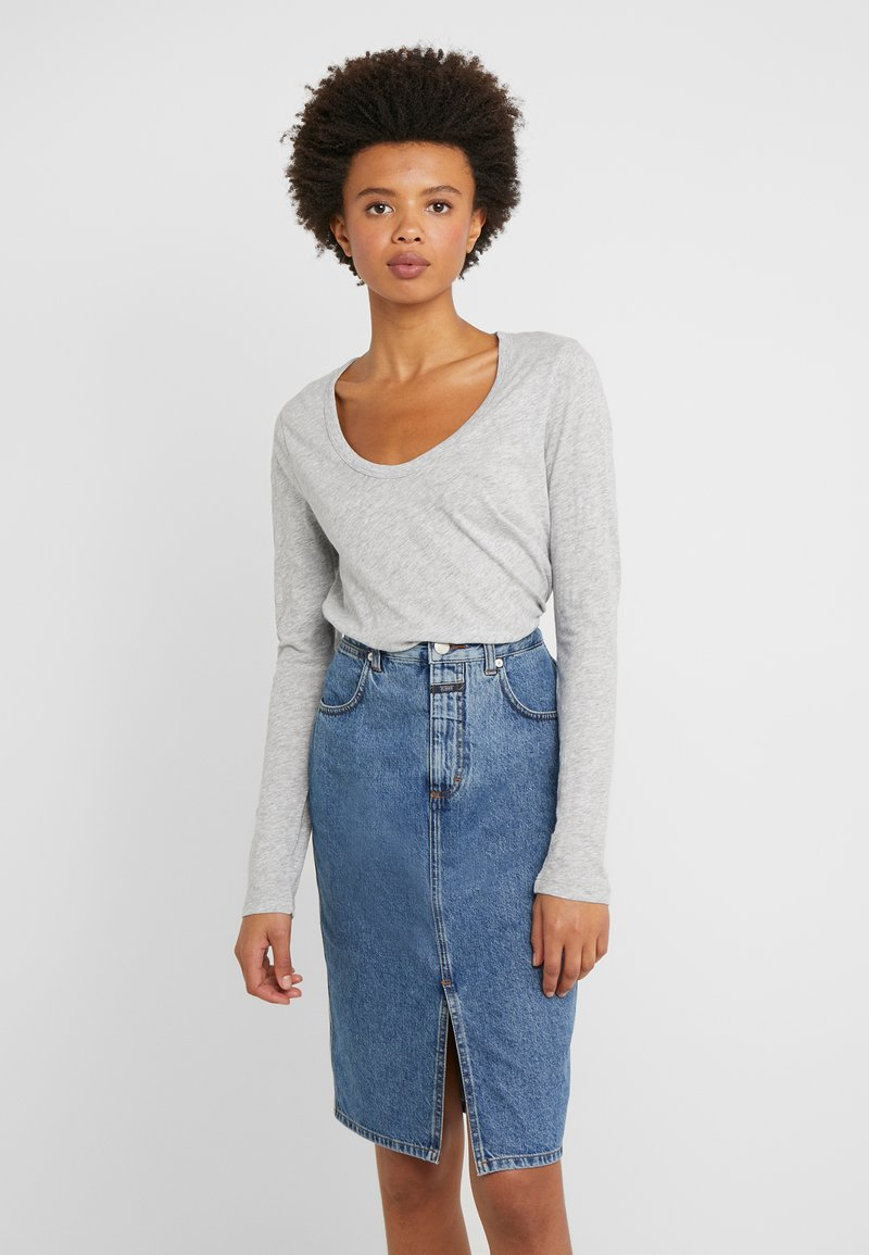 J.CREW - WHISPER SCOOP NECK - Long sleeved top - grey