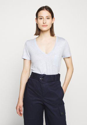 V NECK TEE - T-Shirt basic - shale blue
