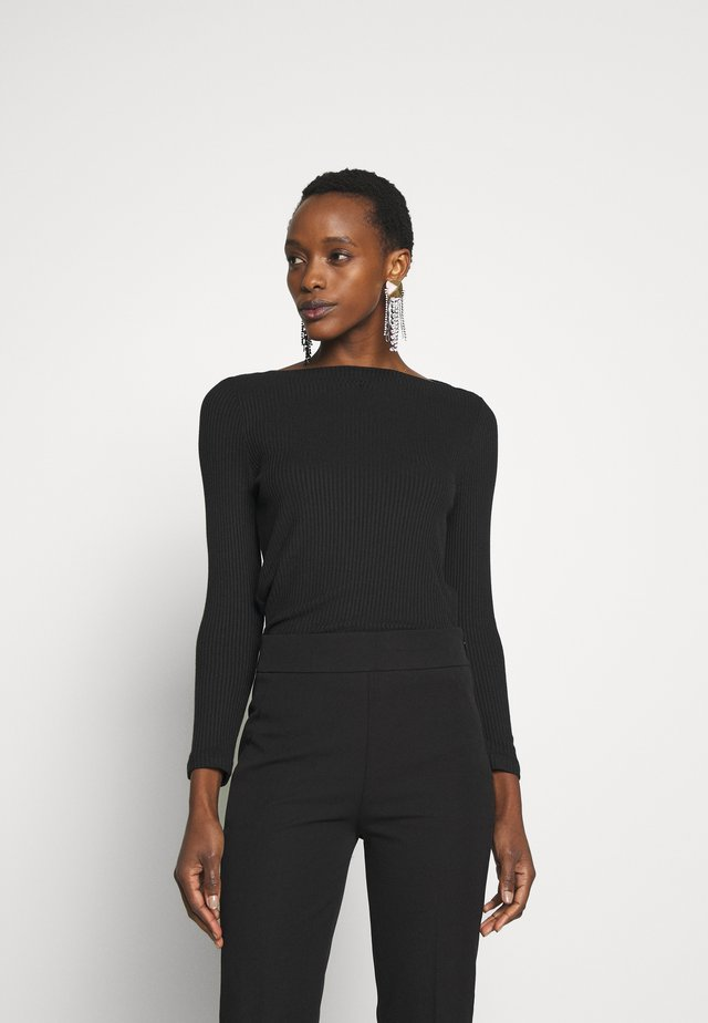 BATEAU NECKLINE - Langærmede T-shirts - black
