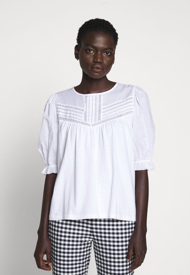 PLEATED YOKE SLEEVE - Bluzka - white