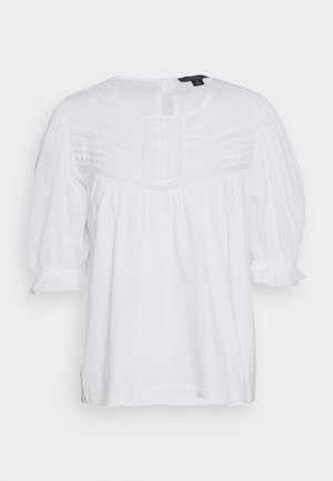 PLEATED YOKE SLEEVE - Blusa - white