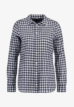 RELAXED CRINKLE GINGHAM - Camisa - navy