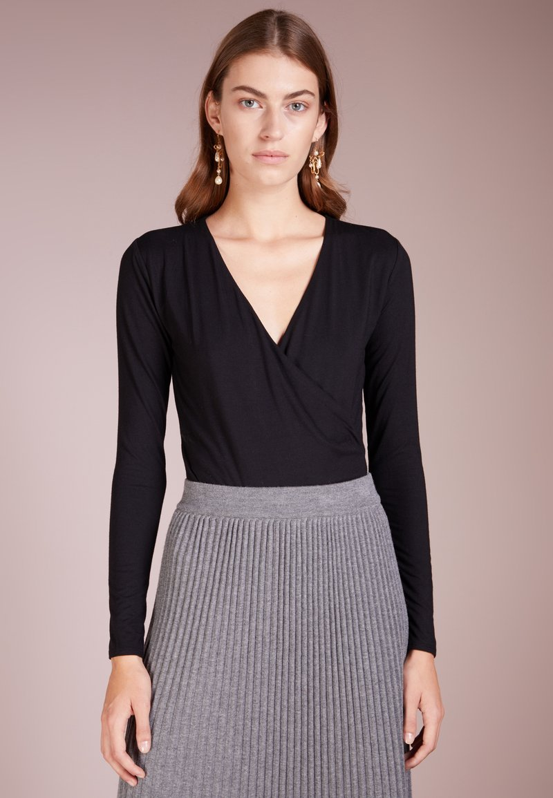 J.CREW - WRAPSTRETCH BODYSUIT - Langarmshirt - black