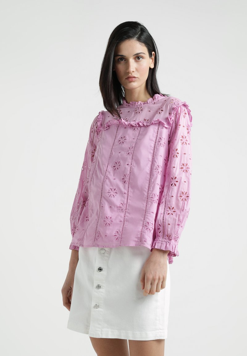 J.CREW - BASH TOP EMBROIDERED EYELET - Bluse - sundrenched peony