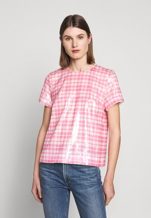 JONI PRINTED GINGHAM SEQUIN - Bluser - pink/ivory