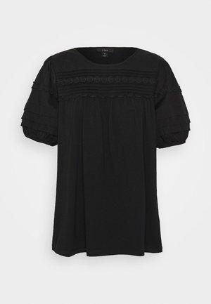 PINTUCK PUFF SLEEVE - Blouse - black