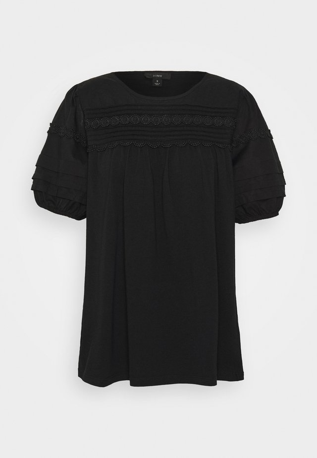 PINTUCK YOKE PUFF SLEEVE - Bluse - black