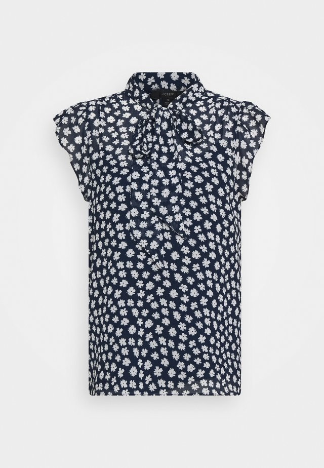 TIE NECK BLOUSE IN SCATTERED DAISIES - Blus - navy/ivory