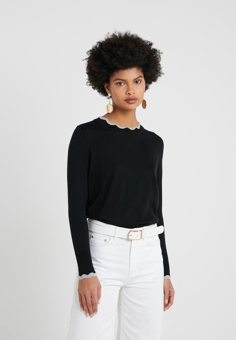 J.CREW - LYDA RUFFLE TRIM - Jumper - black/heather grey