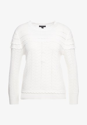 SCALLOP NECK POINTELLE CREW - Sweter - ivory