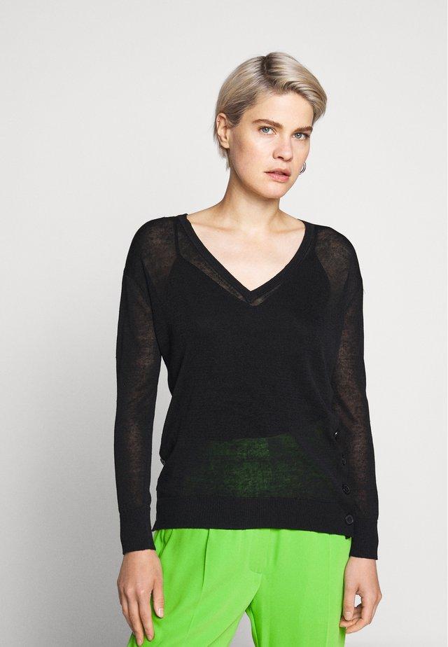 SIDE BUTTON V NECK - Pullover - black
