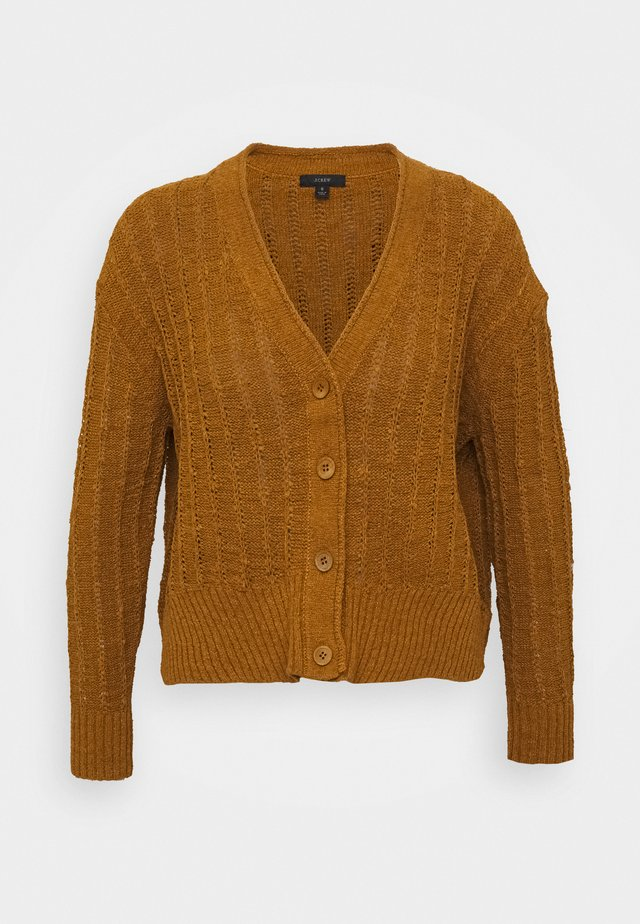 POINT SUR TEXTURED VNECK CARDIGAN - Strickjacke - golden brandy
