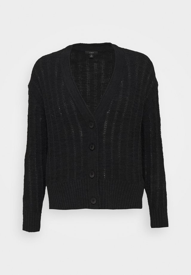 POINT SUR TEXTURED VNECK CARDIGAN - Strickjacke - black