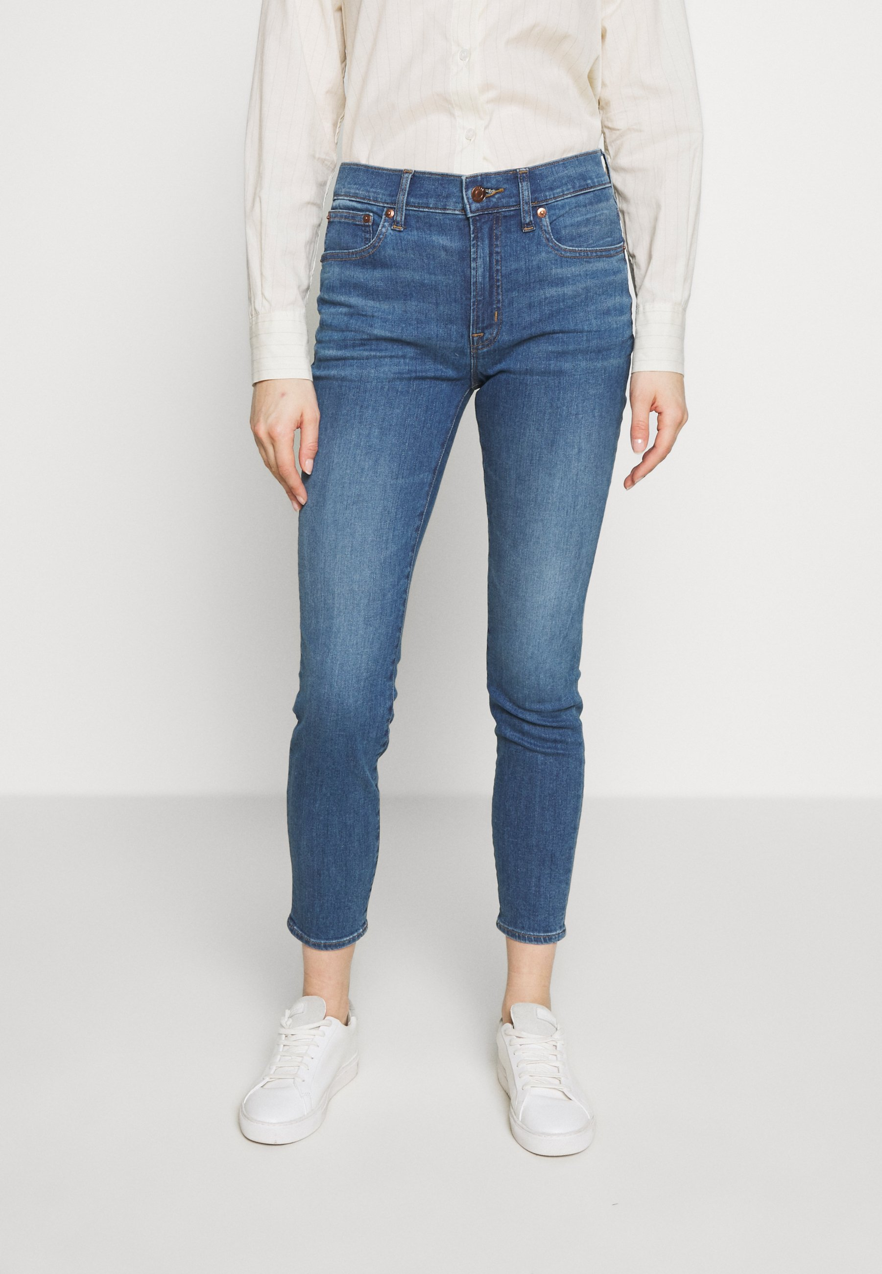 J.CREW HIGH RISE TOOTHPICK - Jeansy Skinny Fit - steel blue wash