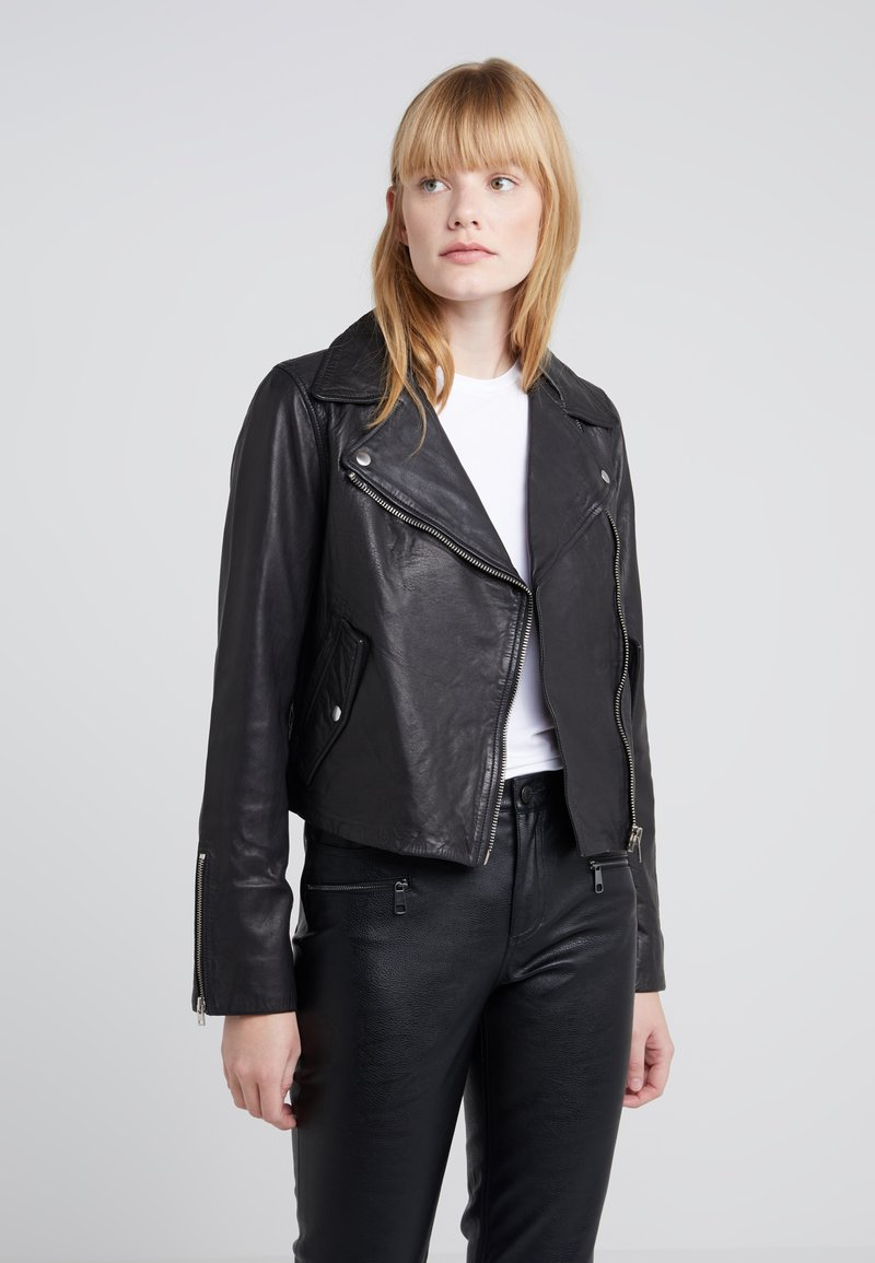 J.CREW - COLLECTION WASHED MOTORCYCLE  - Leather jacket - black