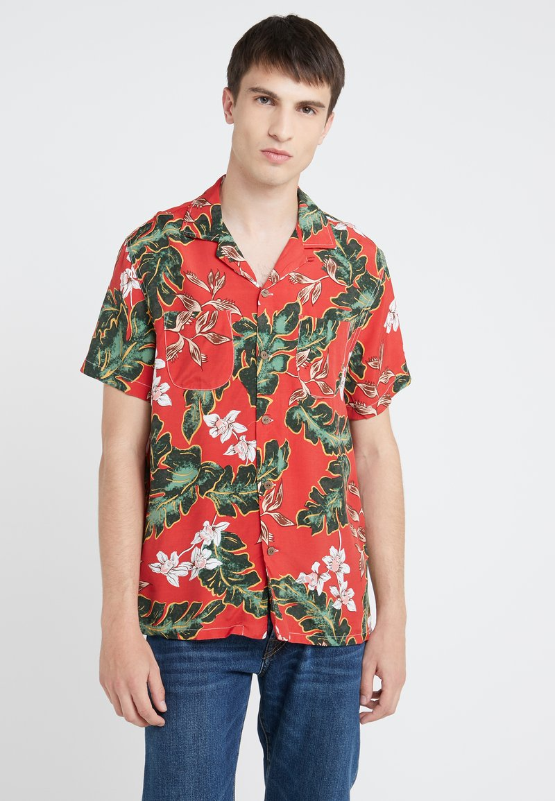 J.CREW - PRINTED CAMP COLLAR PALMA FLORAL - Koszula - red