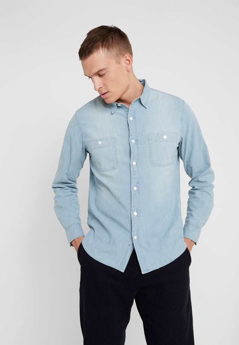 J.CREW - STRETCH CHAMBRAY WORK SHIRT SLIM FIT - Camisa - blue denim