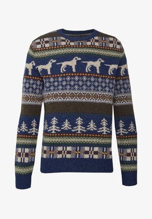 KNOLL SUPERSOFT DOG FAIRISLE CREW - Svetr - heather indigo