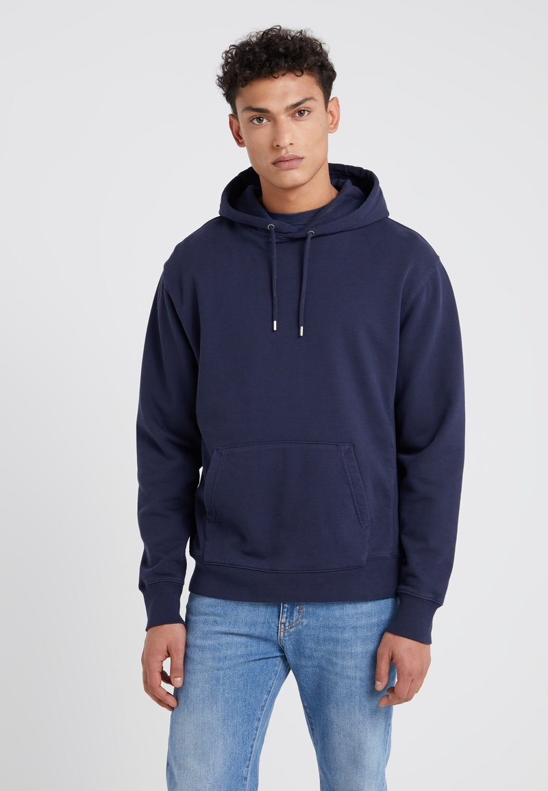 J.CREW - DYE FRENCH TERRY HOODY - Luvtröja - washed navy
