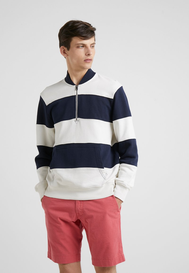 J.CREW - PIECED FRENCH TERRY HALF ZIP  - Sweatshirt - navy/ivory