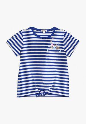 STRIPED ABIGAIL TIE FRONT - Print T-shirt - ivory/blue