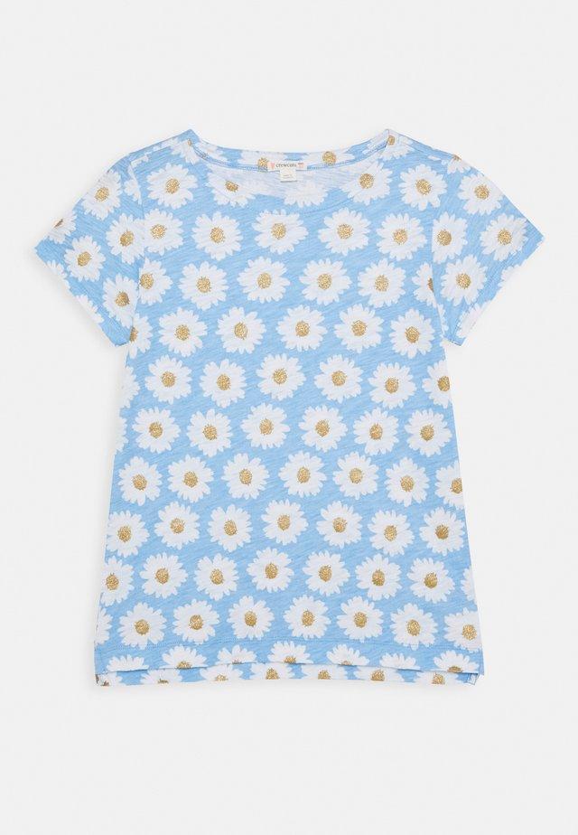 ALL OVER DAISY TEE - T-shirt print - blue/gold