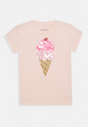 SEQUIN ICE CREAM CONE  - T-shirts print - pink melange