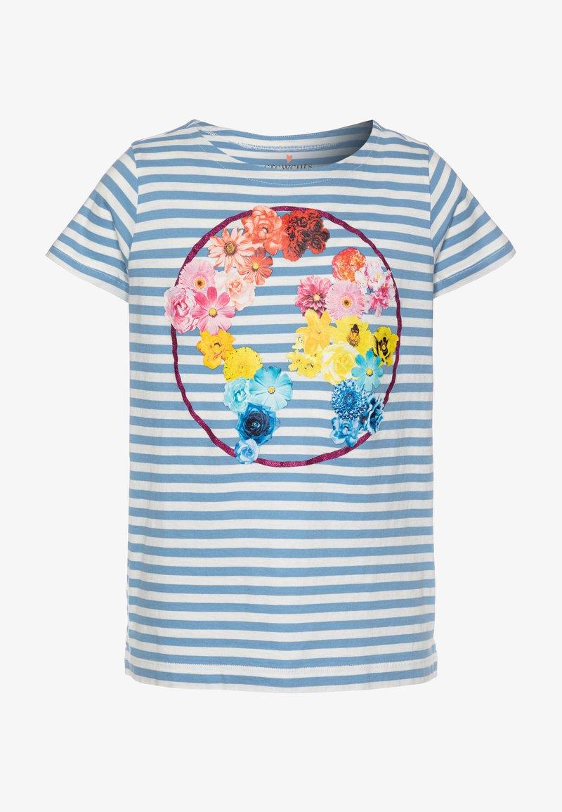 J.CREW - FLOWER EARTH GRAPHIC TEE - Print T-shirt - light blue