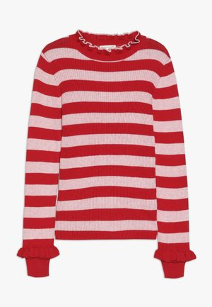 LOU TURTLENECK STRIPE - Stickad tröja - red/blush