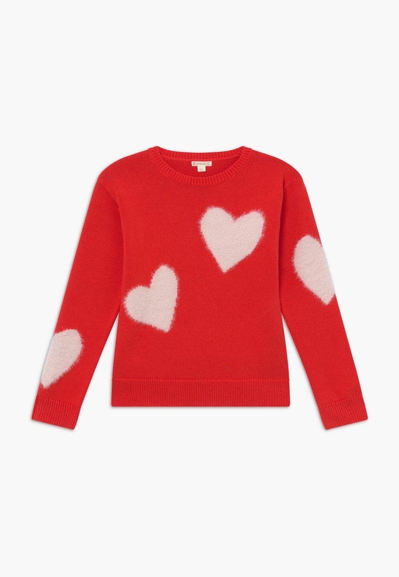 J.CREW - HEART INTARSIA POPOVER - Pullover - bright cerise pink