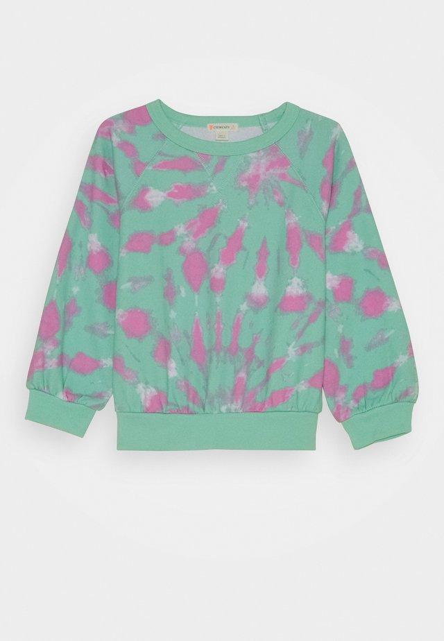 BEACH CREWNECK TIE DYE - Sweatshirt - aqua/white/pink
