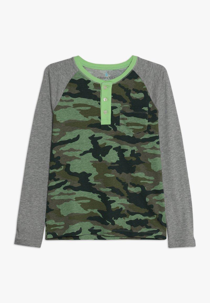 J.CREW - CAMO RAGLAN HENLEY - T-shirt à manches longues - heather grey