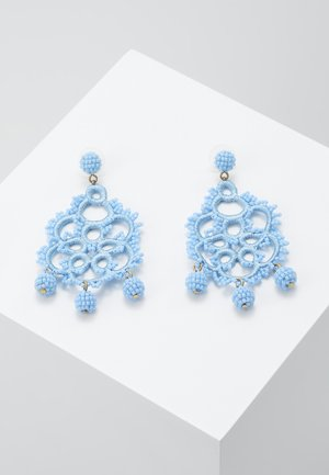 EMBROIDERED BEADED STATEMENT - Ohrringe - blue
