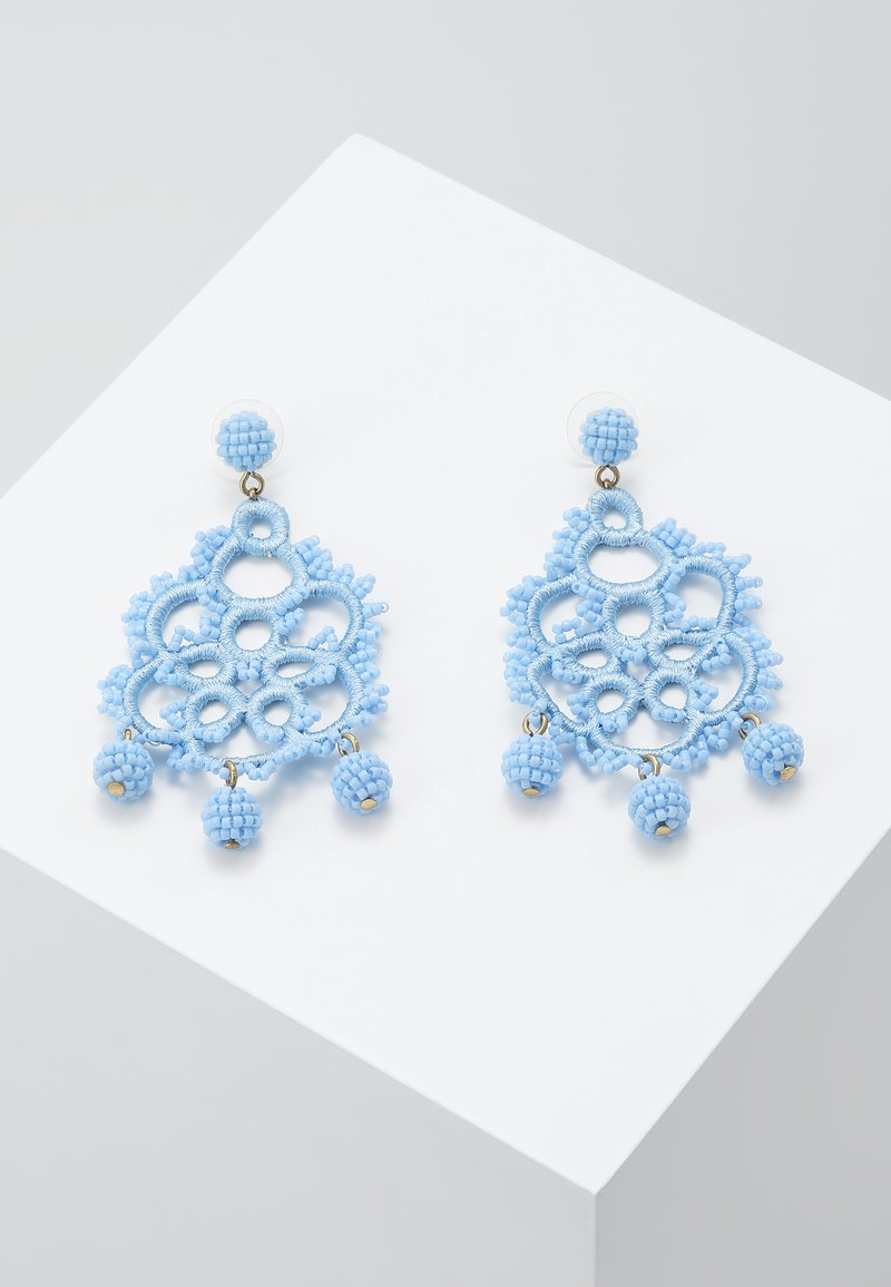 J.CREW - EMBROIDERED BEADED STATEMENT - Earrings - blue