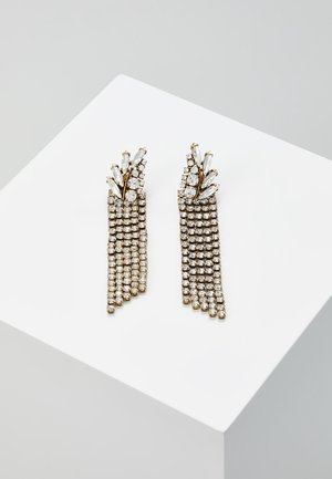 PAVE FEATHER CHAIN EARRINGS - Pendientes - crystal