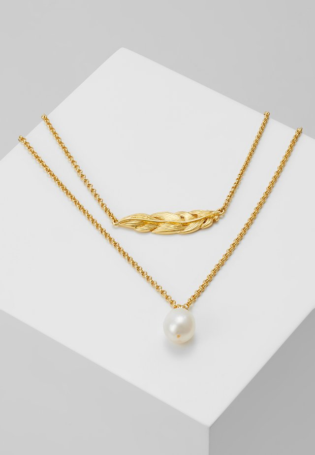 FEATHER LAYERING NECKLACE - Náhrdelník - white