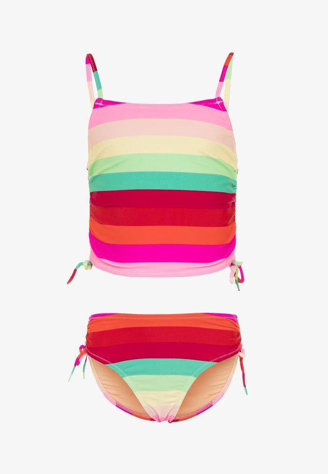 HIGH WAIST TANKINI STRIPE - Bikini - red/green/multicolor