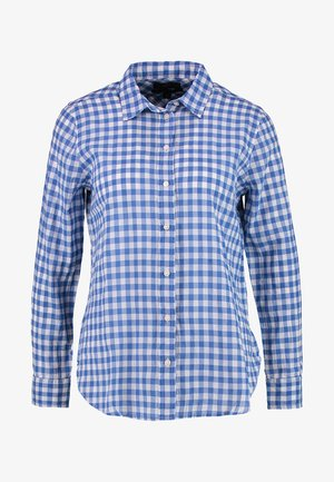 CLASSIC FIT BOY SHIRT IN CRINKLE GINGHAM - Button-down blouse - cobalt