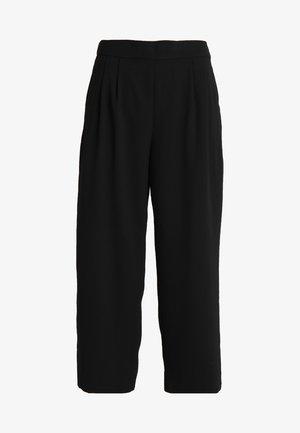 WIDE LEG CROPPED EASY PANT - Kalhoty - black