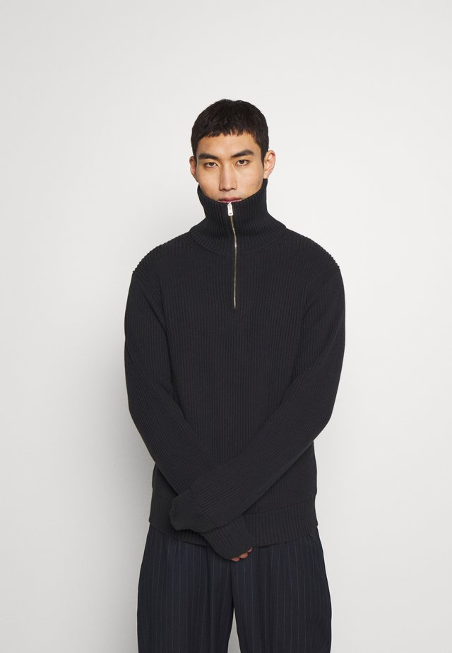 HIGH ZIP COTE ANGLAISE - Jumper - charcoal