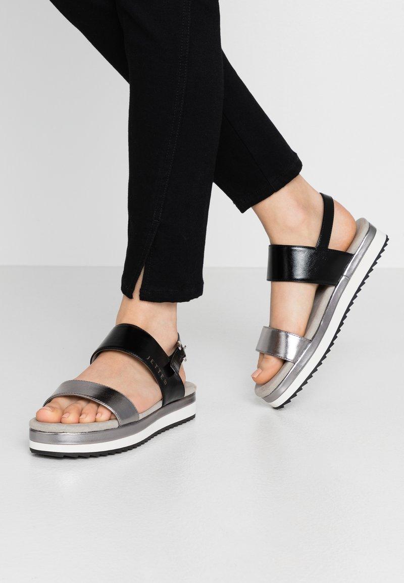 JETTE - Platform sandals - gunmetal/black